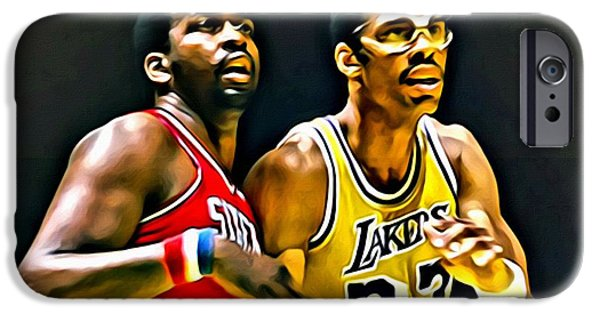 Malone iPhone Cases - Moses Malone with Kareem Abdul-Jabbar iPhone Case by Florian Rodarte