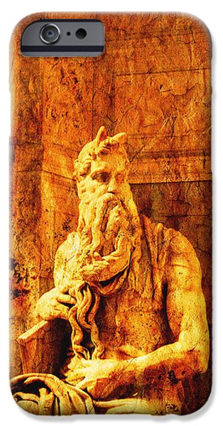 Statue Portrait iPhone Cases - Moses iPhone Case by Stefano Senise