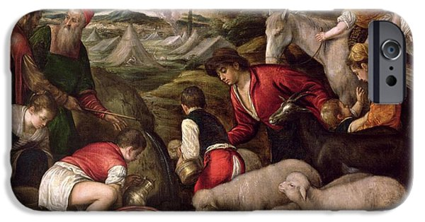 Miracle Photographs iPhone Cases - Moses Striking Water From The Rock Oil On Panel iPhone Case by Jacopo Bassano