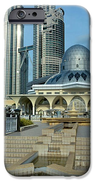 Twin Towers iPhone Cases - Mosque And Petronas Towers Kuala Lumpur iPhone Case by Panoramic Images