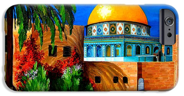 Historic Site Paintings iPhone Cases - Mosque - Dome of the rock iPhone Case by Patricia Awapara