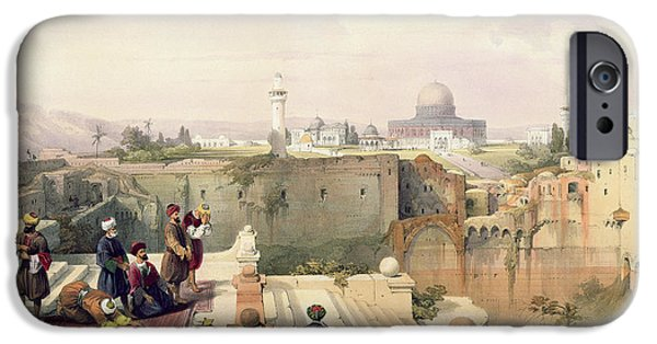 Orientalists Photographs iPhone Cases - Mosque Of Omar Showing The Site Of The Temple, Plate 8 From Volume I Of The Holy Land Engraved iPhone Case by David Roberts