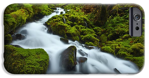 Lush iPhone Cases - Mossy Creek Cascade iPhone Case by Darren  White