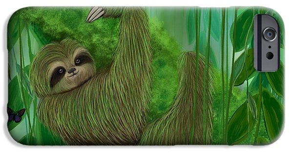 Sloth iPhone Cases - Mossy Three Toed Sloth iPhone Case by Nick Gustafson