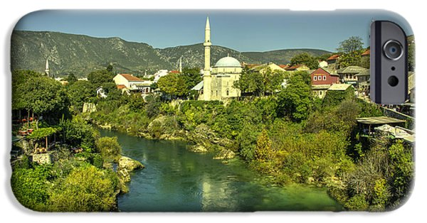 Staris iPhone Cases - Mostar River and Mosque  iPhone Case by Rob Hawkins
