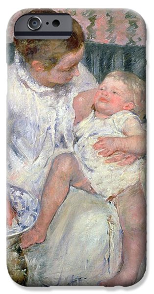 Bathing Paintings iPhone Cases - Mother About to Wash her Sleepy Child iPhone Case by Mary Stevenson Cassatt