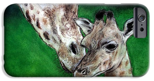 Bonding Paintings iPhone Cases - Mother and Baby Giraffe iPhone Case by Jim Fitzpatrick