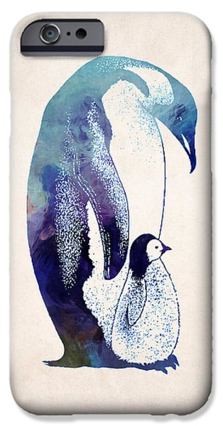 Adorable Digital Art iPhone Cases - Mother and Baby Penguin iPhone Case by World Art Prints And Designs