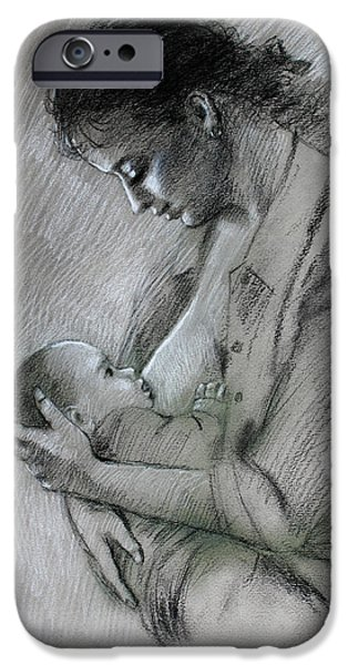 Feeding Young iPhone Cases - Mother and Baby iPhone Case by Viola El