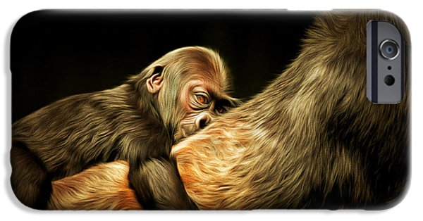 Ape Digital Art iPhone Cases - Mother and Child 20150210brun iPhone Case by Wingsdomain Art and Photography