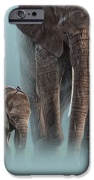 Elephants iPhone Cases - Mother and Child iPhone Case by Aaron Blaise