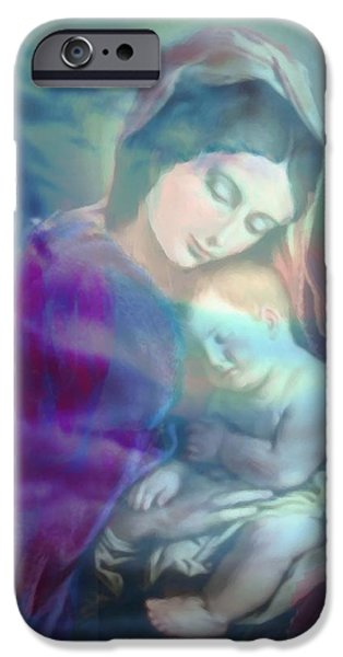 Jesus And The Children Print iPhone Cases - Mother and Child iPhone Case by Angela Powell