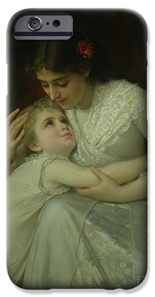 Tender iPhone Cases - Mother and Child iPhone Case by Emile Munier