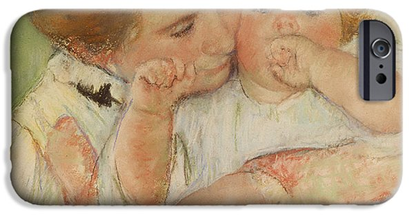 Pastel Paintings iPhone Cases - Mother and Child iPhone Case by Mary Stevenson Cassatt