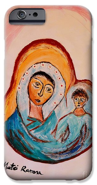 Figure iPhone Cases - Mother and Child iPhone Case by Ramona Matei