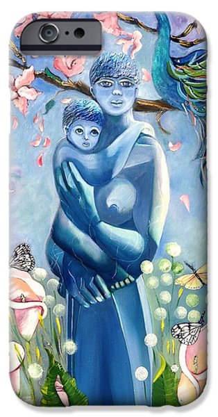 Statue Portrait Mixed Media iPhone Cases - Mother and Child iPhone Case by Susan Robinson