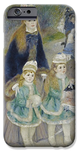 1876 Paintings iPhone Cases - Mother and Children. La Promenade iPhone Case by Pierre-Auguste Renoir