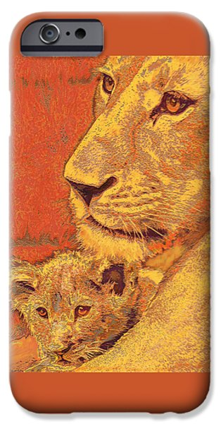 Lion iPhone Cases - Mother And Cub iPhone Case by Jane Schnetlage