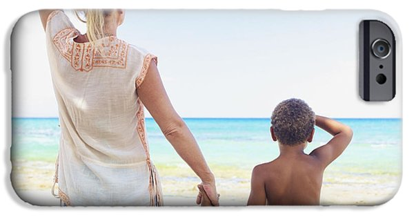Youthful iPhone Cases - Mother and Son at Beach iPhone Case by Kicka Witte