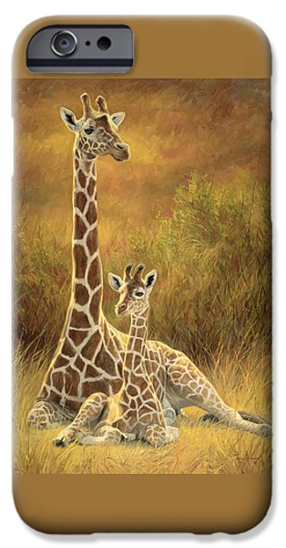 Giraffes iPhone Cases - Mother and Son iPhone Case by Lucie Bilodeau