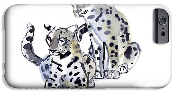 On Paper Paintings iPhone Cases - Mother and Son iPhone Case by Mark Adlington