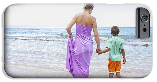 Youthful iPhone Cases - Mother and Son on Beach iPhone Case by Kicka Witte