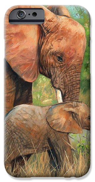 Elephants iPhone Cases - Mother Love 2 iPhone Case by David Stribbling
