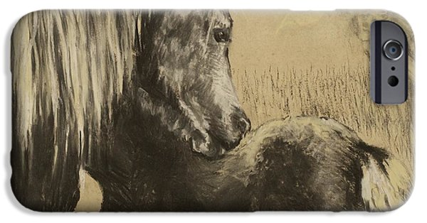 The Horse Pastels iPhone Cases - Mother love iPhone Case by Kathryn Dalziel