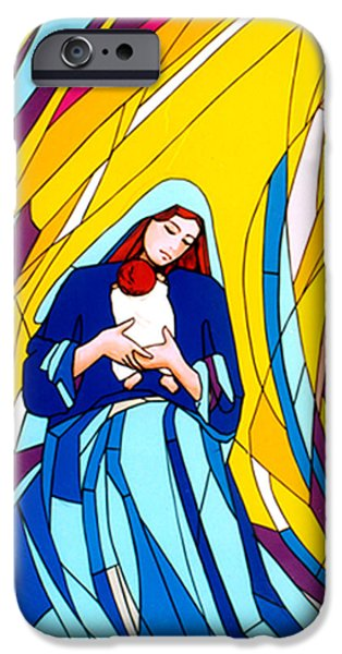Night Angel Glass iPhone Cases - Mother Mary and Child iPhone Case by Terezia Sedlakova Wutzay