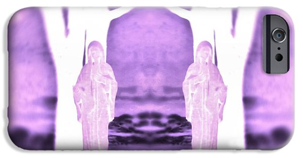 Mother Mary Digital Art iPhone Cases - Mother Mary Protect Us iPhone Case by Dan Sproul