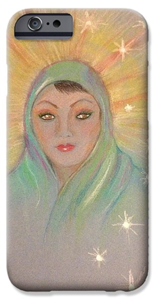 Religious Pastels iPhone Cases - Mother Mary iPhone Case by Ronnie Egerton