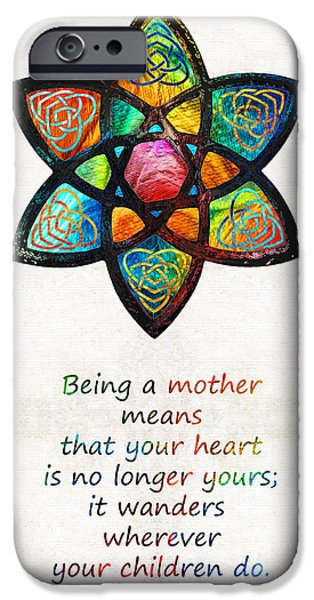 Honor iPhone Cases - Mother Mom Art - Wandering Heart - By Sharon Cummings iPhone Case by Sharon Cummings