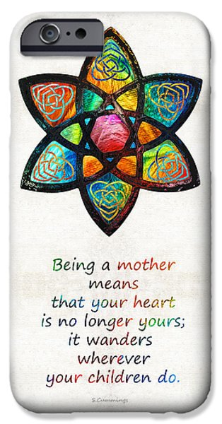 Affirmation iPhone Cases - Mother Mom Art - Wandering Heart - By Sharon Cummings iPhone Case by Sharon Cummings
