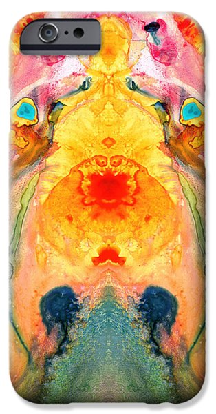 Beauty Mixed Media iPhone Cases - Mother Nature - Abstract Goddess Art By Sharon Cummings iPhone Case by Sharon Cummings