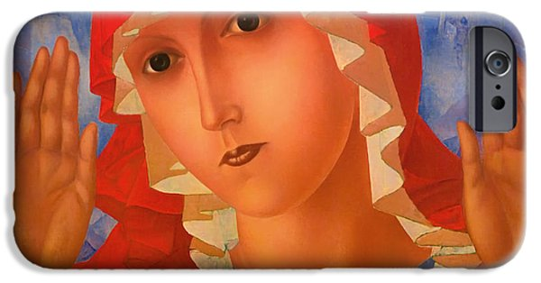 Concept Paintings iPhone Cases - Mother of God iPhone Case by Petrov-Vodkin