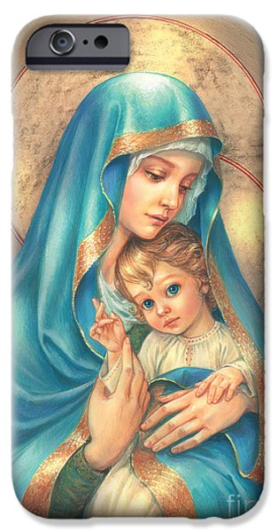 Spiritual Portrait Of Woman iPhone Cases - Mother of God iPhone Case by Zorina Baldescu