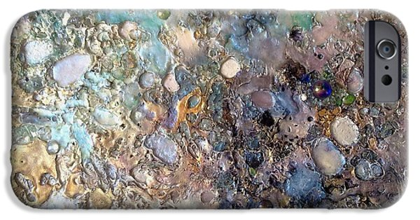 Moonscape Mixed Media iPhone Cases - Mother-of-pearl and pink on gold surface iPhone Case by Lynda Stevens