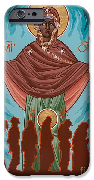 Harts iPhone Cases - Mother of Sacred Activism with Eichenbergs Christ of the Breadline iPhone Case by William Hart McNichols