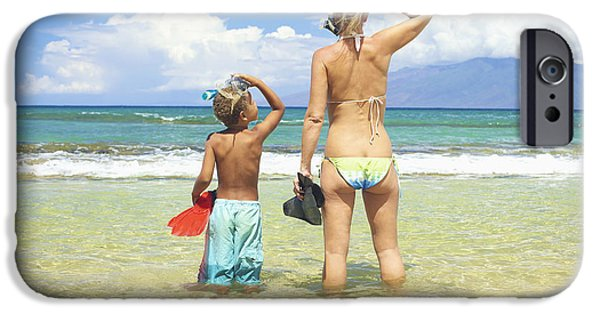 Youthful iPhone Cases - Mother Son Snorkel iPhone Case by Kicka Witte