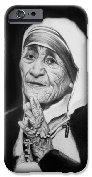 Charcoal Mixed Media iPhone Cases - Mother Teresa iPhone Case by Anthony Falbo