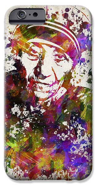 Catholic Church iPhone Cases - Mother Teresa in Color iPhone Case by Aged Pixel