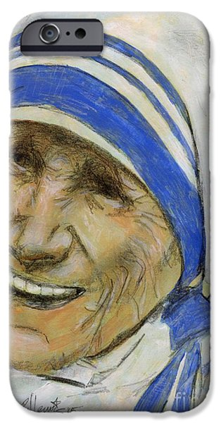 Spiritual Portrait Of Woman iPhone Cases - Mother Teresa iPhone Case by P J Lewis
