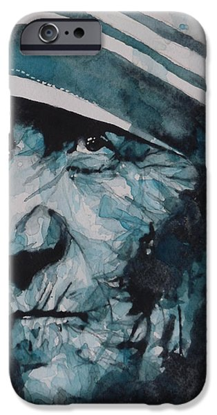 Religious Icon iPhone Cases - Mother Teresa iPhone Case by Paul Lovering