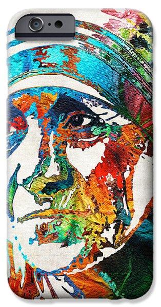Catholic Church iPhone Cases - Mother Teresa Tribute by Sharon Cummings iPhone Case by Sharon Cummings