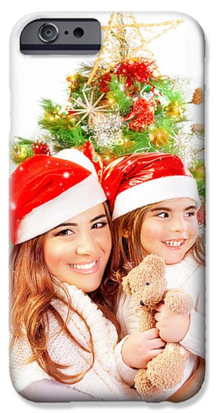 Mother with daughter celebrate Christmas iPhone Case by Anna Omelchenko