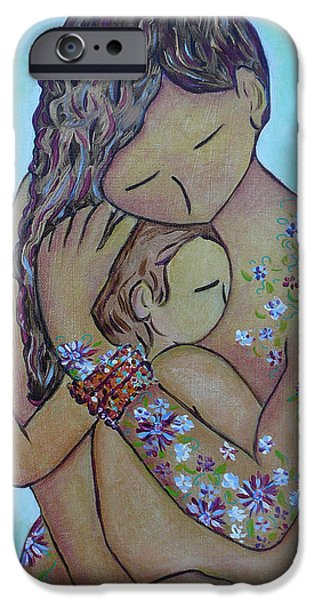 Cradling iPhone Cases - Motherhood Flowers All Over iPhone Case by Gioia Albano