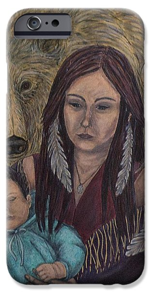 Native American Spirit Portrait iPhone Cases - Motherhood-Guardian Spirits iPhone Case by Kim Jones