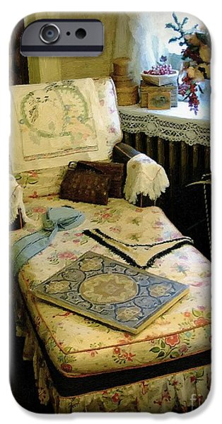 Mother's Chintz Chaise in the Corner iPhone Case by RC deWinter