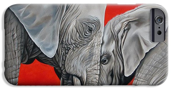 Elephants iPhone Cases - Mothers Love iPhone Case by Ilse Kleyn