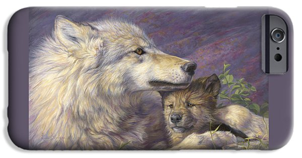 Puppies iPhone Cases - Mothers Love iPhone Case by Lucie Bilodeau